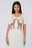 Okhai 'Deer' Appliqué Organic Cotton Cambric Dress