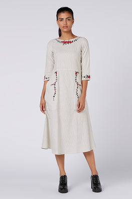 Okhai 'The Star' Embroidered Cotton Handloom Dress