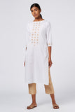 Okhai 'Moon Beam' Embroidered Cotton Cambric Kurta