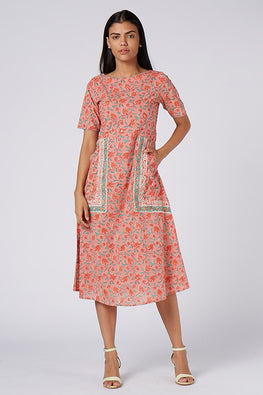 Okhai 'Floral Notes' Cotton Hand Block Print Dress