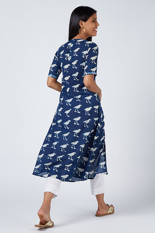 Okhai 'Fly Away' Hand Block Print Cotton Kurta