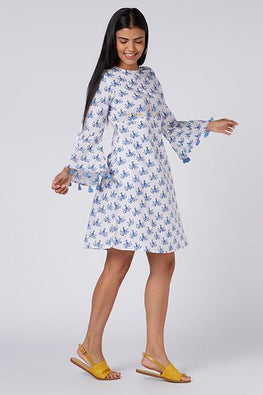 Okhai 'Woodstock' Cotton Hand Block Printed Summer Dress