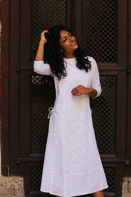 "Okhai ""White Jasmine"" Chikankari Long Dress"