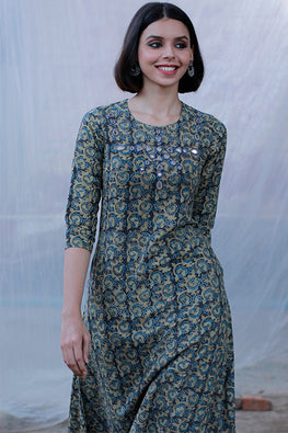 "Okhai ""Ajrakh Dusk"" Mirror Work Dress"