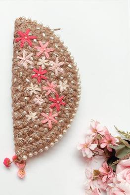 Dhaaga Handcrafts-Silver multi Pink floral half moon clutch