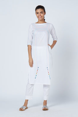 Okhai 'Rainbow' Embroidered Cotton Cambric Kurta
