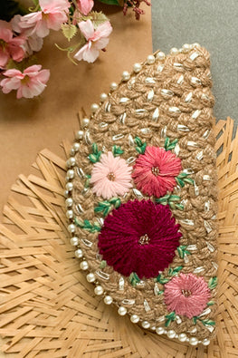 Dhaaga Handcrafts-Silver Pink floral half moon clutch