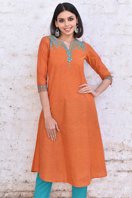 Okhai 'New Resolutions' Cotton Embroidered Kurta