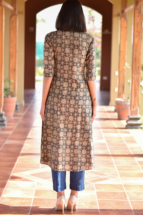 Okhai 'Flower Fields' Ajrakh Cotton Kurta