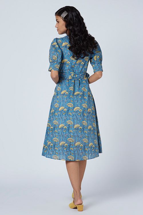 Okhai 'Everglow' Embroidered Cotton Hand Block Print Wrap Dress