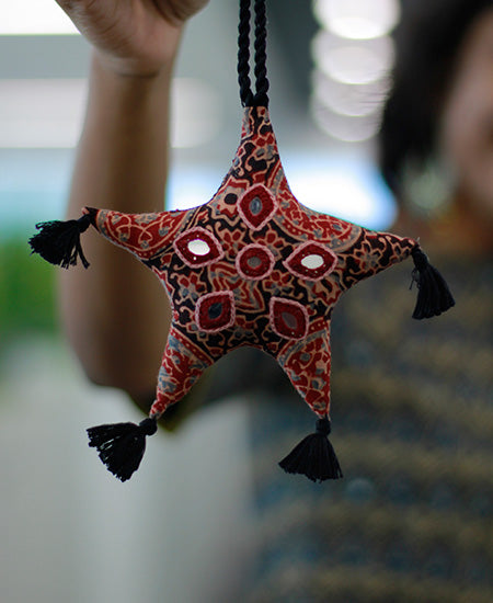 Okhai 'Lucky Charm' Mirror Work Star Decoration