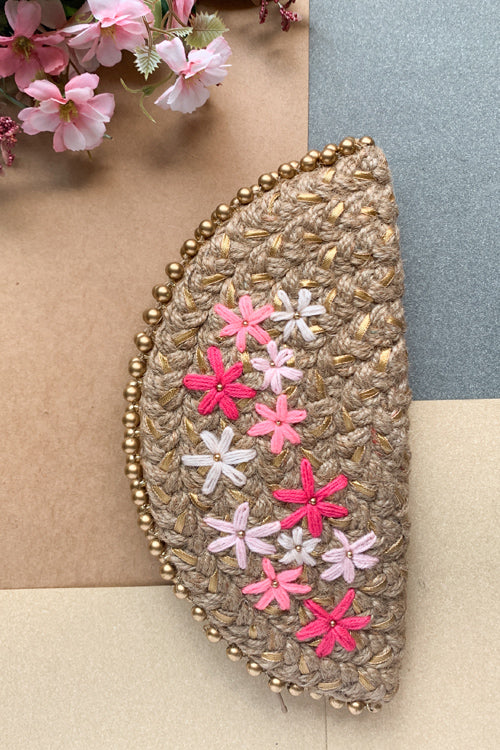 Dhaaga Handcrafts-Golden multi Pink floral half moon clutch