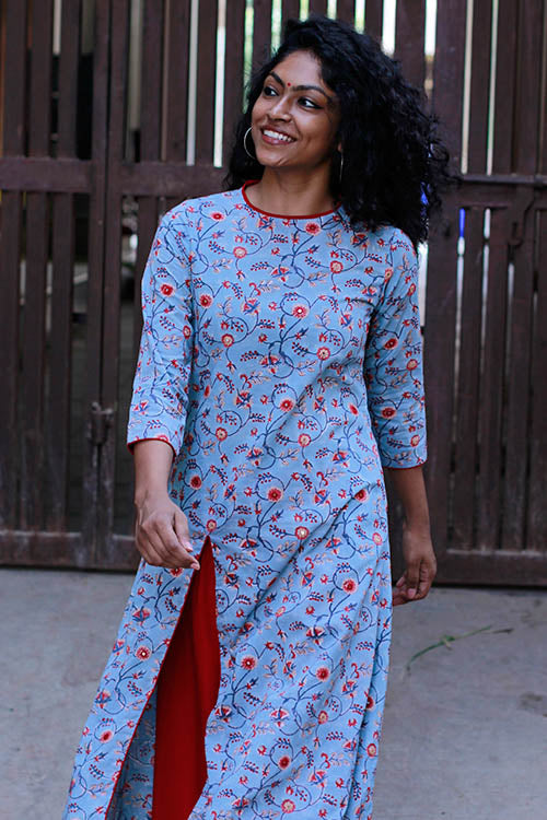 "Okhai ""Exotic Garden"" Mirror Work Kurti"