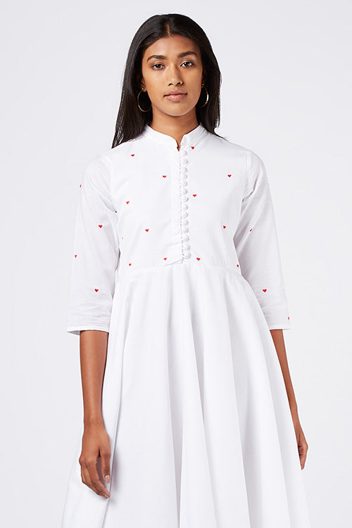 Okhai 'Angel Heart' Embroidered Cotton Cambric Dress