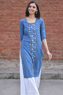 Okhai 'Free Soul' Embroidered Mangalgiri Cotton Kurta