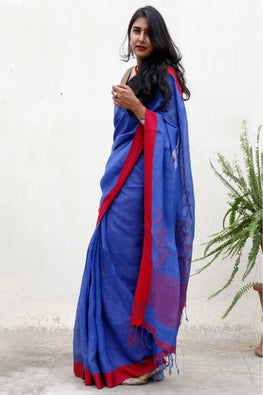 Vibrant Linen Saree With Woven Pallu - Blue & Red - The India Craft House