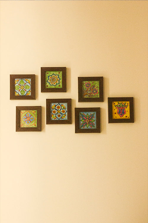 StudioMoya 'Pottery Motifs' Hand-painted On Leather Framed Wall Art