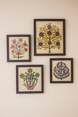StudioMoya 'Mughal Motifs' Hand-painted On Leather Wall Art