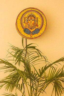 StudioMoya 'Madhubani Ganesha' Hand-painted On Leather Drum Wall Lamp
