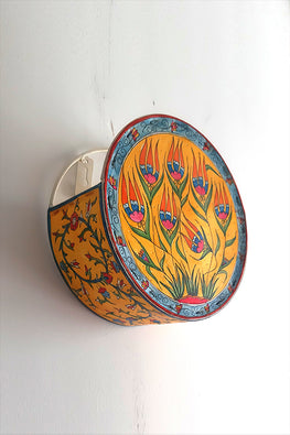 StudioMoya 'Lotus Garden' Hand-painted On Leather Drum Wall Lamp