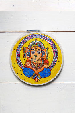 StudioMoya 'Madhubani Ganesha' Hand-painted On Leather Wall Frame