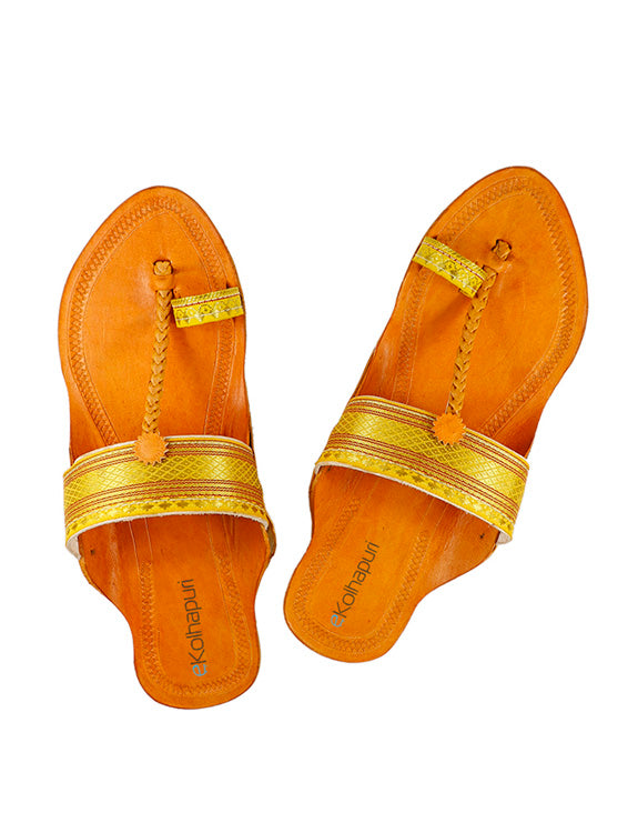 KALAPURI Awesome and attractive looking natural vegetable tanned toxic free leather Kolhapuri Chappalfor Women with Paithani Jari Borader-3
