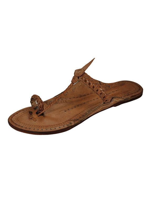 Kalapuri Women's Handcrafted Vegetable Tanned Leather Kolhapuri Chappal with Loose braid upper - Dark Brown
