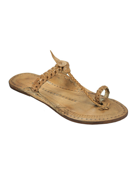 Kalapuri Women's Handcrafted Vegetable Tanned Leather Kolhapuri Chappal with Loose braid upper - Brown