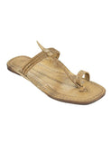 Kalapuri Women's Handcrafted Vegetable Tanned Leather Kolhapuri Chappal with Loose braid upper - Natural