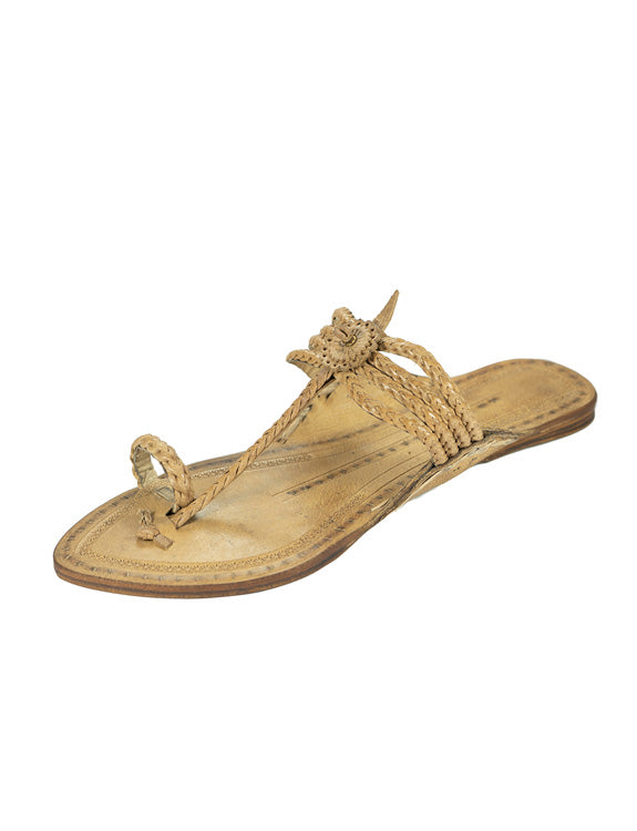 Kalapuri Women's Handcrafted Vegetable Tanned Leather Kolhapuri Chappal with Handmade weni - Natural