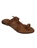 Kalapuri Women's Handcrafted Vegetable Tanned Leather Kolhapuri Chappal with Handpunched top - Dark Brown