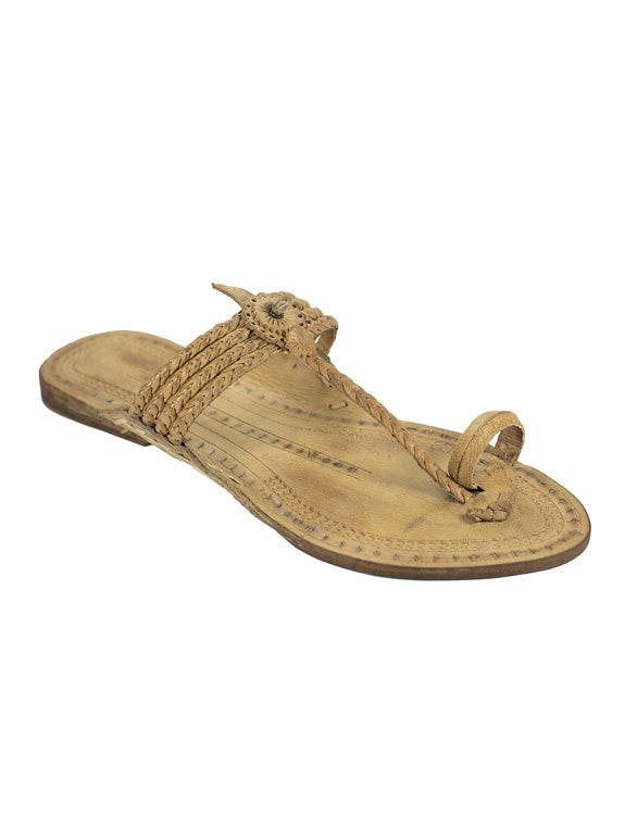Kalapuri Women's Handcrafted Vegetable Tanned Leather Kolhapuri Chappal with Handpunched top - Natural