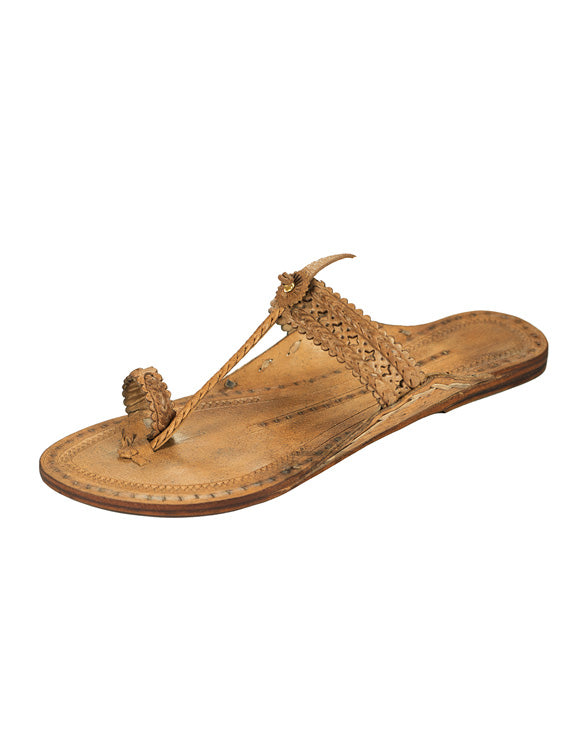 Kalapuri Women's Handcrafted Vegetable Tanned Leather Kolhapuri Chappal with Handpunched top - Brown