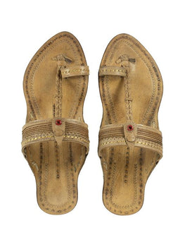 KALAPURI Awesome and attractive looking natural vegetable tanned toxic free leather Kolhapuri Chappal with delicate braids/weni upper from Kolhapur in Natural colour Size UK-5