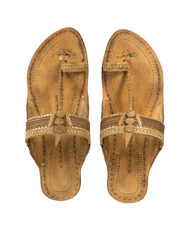 Kalapuri Women's Handcrafted Vegetable Tanned Leather Kolhapuri Chappal - Brown
