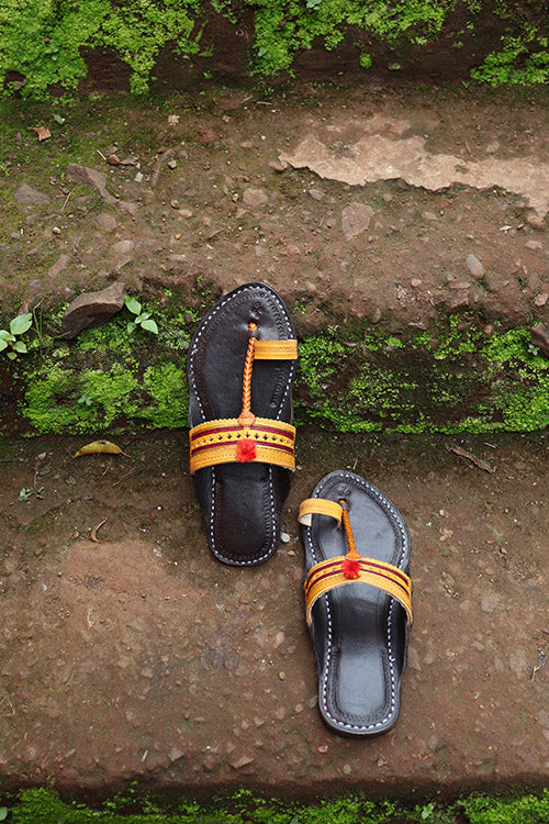 KALAPURI® Womens Genuine Leather Yellow tanned toxic free leather Kolhapuri Chappal from Kolhapur.