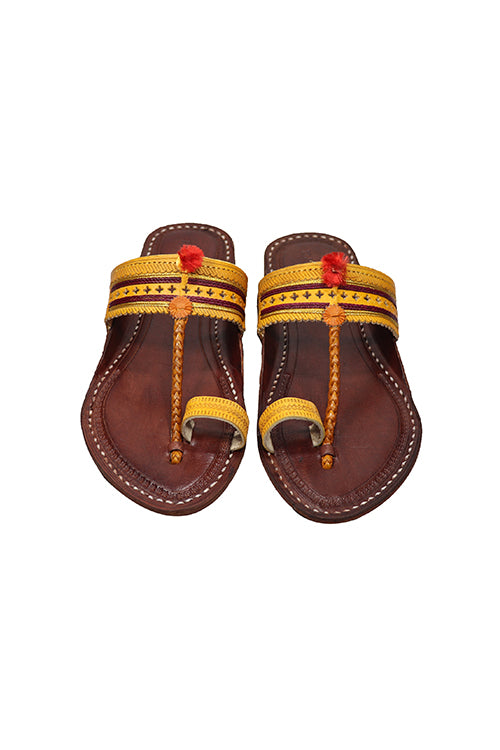 KALAPURI® Genuine Leather Womens Kolhapuri Yellow Chappal tanned toxic free leather from Kolhapur.