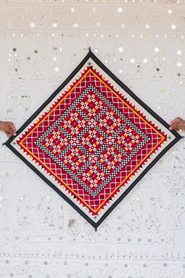 Okhai 'AABHA' Hand Embroidered Mirror Work Pure Cotton Wall Hanging