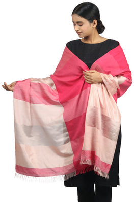 Khadi cotton, mulberry silk Azo free dyed stole-2-shaft weave-style 1088