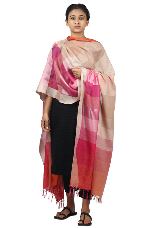 Handspun cotton, mulberry silk Azo free dyed dupatta-2-shaft weave-style 1093