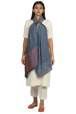 Textured Khadi and silk stole in indigo and red