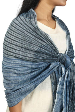 Textured Handwoven Cotton and silk stole in indigo and steel silk