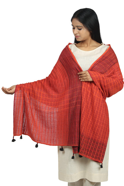 Textured Khadi and silk stole in brick red and black