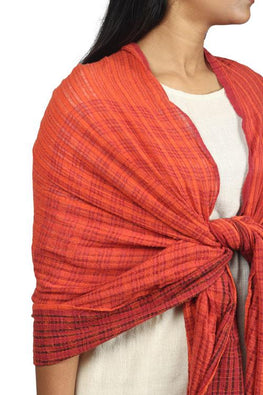 Textured Handwoven Cotton and silk stole in brick red and black