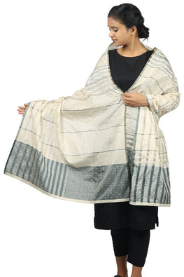 Mulberry silk, zari Azo free dyed stole-2-shaft weave-style 1270