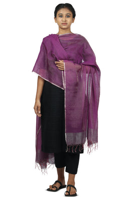 Mulberry silk, zari Azo free dyed dupatta-2-shaft weave-style 1325