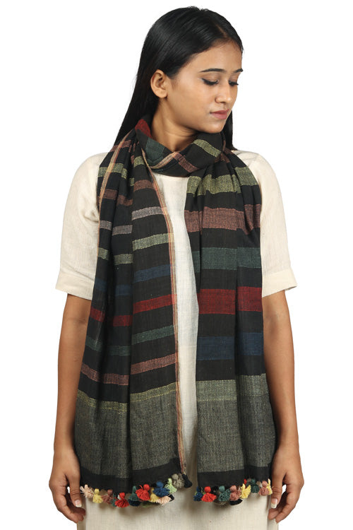 Khadi organic cotton Natural dyed stole-2-shaft weave-style 377