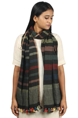 Handwoven Cotton organic cotton Natural dyed stole-2-shaft weave-style 377