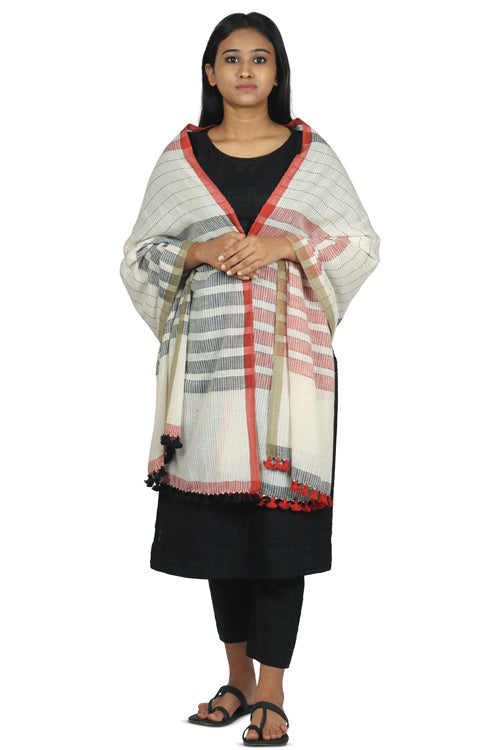 Khadi organic cotton Natural dyed stole-2-shaft weave-style 379