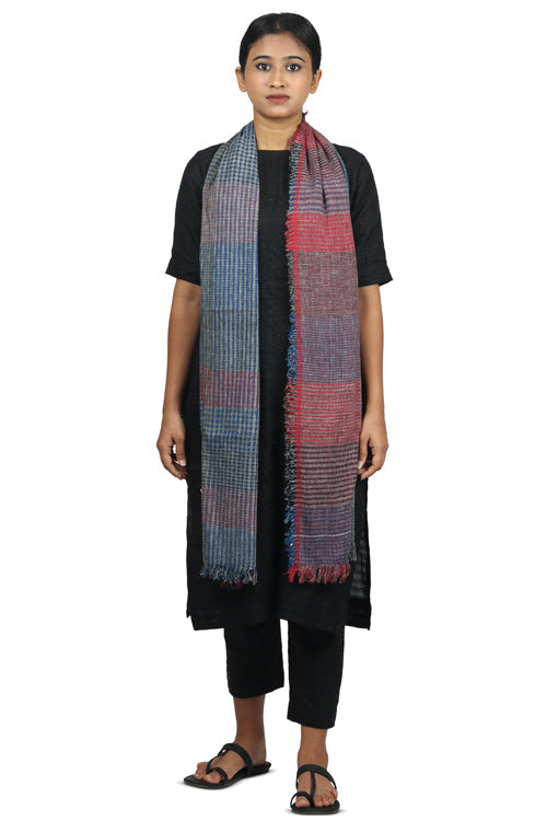 Handspun cotton Azo free dyed stole-2-shaft weave-style 653